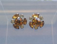 Vintage Gold and Amber Rhinestone Earrings/ by LizzysBibsandBobs