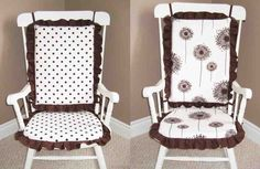 I'll make my own rocking chair covers, similar to these. The rocking chair covers I see already-made are kinda tacky. Rocking Chair Covers, Rocking Chair Nursery, Rocking Chair Cushions, Rocking Chairs, October Baby Showers, Home Furniture, Furniture Design, House And Home Magazine, Home Decor Trends
