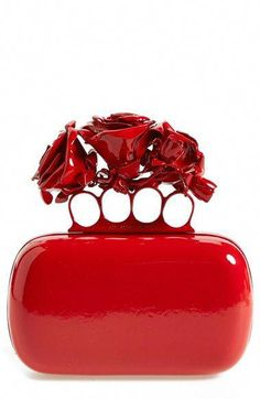 Alexander McQueen 'Lacquered Rose' Knuckle Box Clutch available at Red Purses, Purses And Handbags, Ladies Handbags, Leather Handbags, Alexander Mcqueen Purse, Red Clutch, Red Handbag, Red Fashion, Fashion Bags