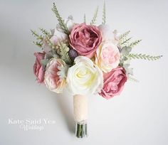 Swooning over this garden style rose bouquet we worked on today - love the varying shades of pink!  Silk wedding bouquet by Kate Said Yes Weddings. Silk Wedding Bouquets, Flower Bouquet Wedding, Bridesmaid Bouquet, Peonies Bouquet, Rose Bouquet, 2018 Wedding Trends, Bouquet Toss, Garden Styles, Pink Silk