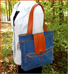 Recycled Leather & Denim Tote Bag in Caramel Brown and Blue.