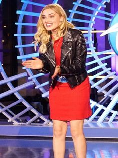 Studded Leather Jacket, Leather Jacket Outfits, Leather Skirt, Celebrity List, Celebrity Women, Real Leather, Black Leather, Meg Donnelly, Zombie Disney