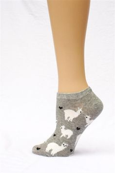 """Show you Love of alpaca with these cute socks! Cute """"No-show"""" height cotton socks featuring our favorite camelid and little hearts of love."""