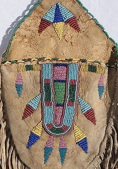 Antique-Crow-Indian-Beaded-Hide-Pouch-W-Long-Fringe-Circa-1900-Estate-Find