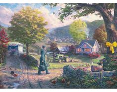 Thomas Kinkade Homecoming Hero print for sale. Shop for Thomas Kinkade Homecoming Hero painting and frame at discount price, ships in 24 hours. Thomas Kinkade Art, Kinkade Paintings, Oil Paintings, Thomas Kincaid, Art Thomas, Norman Rockwell, Illustrations, Canvas Artwork, Beautiful Paintings
