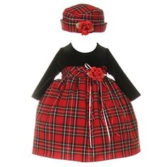 Baby Girls Black Red Velvet Checker Corsage Hat Christmas Dress 24M