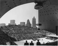A rare shot of Pittsburgh's Civic Arena with the roof partially open