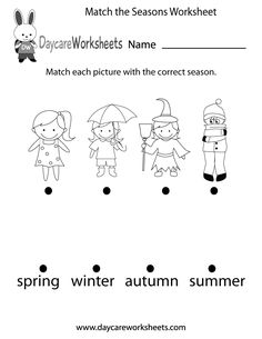 Preschoolers have to match each picture with the correct season in this free worksheet.