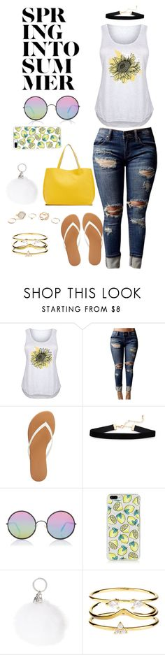 """Summer Chillin'"" by pretty-sassy ❤ liked on Polyvore featuring LC Trendz, WithChic, Charlotte Russe, Sunday Somewhere, Accessorize, GUESS, plussize and plus size clothing"