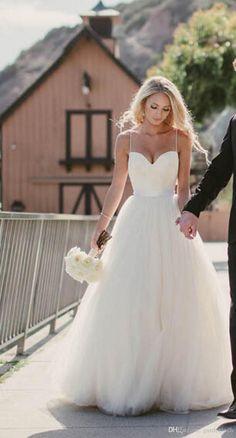 Beach Wedding Dresses 2015 New Sweetheart with Lace Corset Bodice Spaghetti…