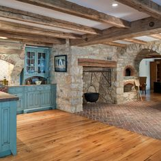 idea for my kitchen.. i like having the old cooking fireplace in the room. make mine a little bigger, like, walk in size