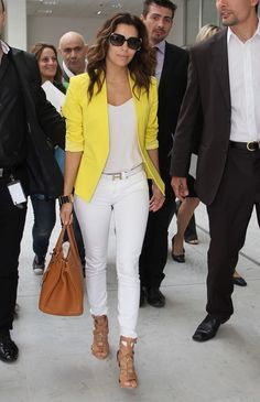 Fresh as a daisy: Eva Longoria was the model of perfectly-judged summer chic sandals outfit jeans Brightening up a grey summer! Eva Longoria is chic as she steps out in sunny yellow blazer ahead of Monte Carlo festival Mode Outfits, Fashion Outfits, Womens Fashion, Jeans Fashion, Eva Longoria Style, Summer Outfits, Casual Outfits, Yellow Blazer Outfits, Casual Dresses