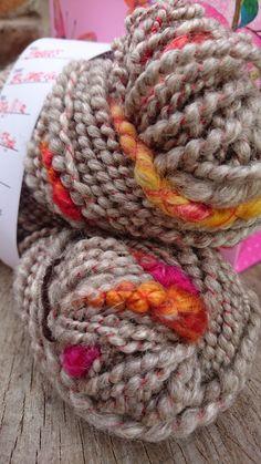 Handspun 'Embers' BFL, Camel and Silk Yarn www.crosscountrycrafts.wales