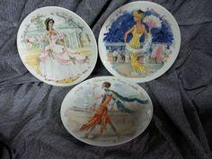 3  Vintage HENRI D' ARCEAU LIMOGES PLATES FRANCE LES FEMMES DU SIECLE