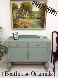 Vintage Oak Art Deco Country Sideboard - Shabby Chic - Painted in Annie Sloan | SOLD