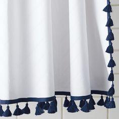 Tassel Shower Curtain – Navy | Serena & Lily--Love the tassels!!