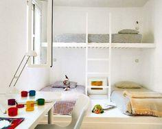 chambre enfant blanche avec lits mezzanine