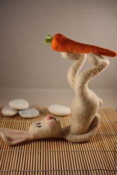 Toys are animals, handmade. Fair of Masters - handmade. Buy Salamba Sarvangasana (hare). Handmade. Multicolored, felted toy