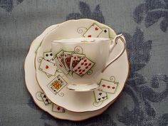 lady luck Playing cards Cup and saucer