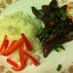 "My version of Mongolian beef from pintrest. It was so easy to make and so yummy.   The original pin is in my ""yummy"" folder !"