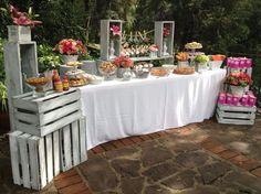 Fruta mesas dulces vintage, postres vintage, mesa de postre vintage, mesa d Candy Table, Candy Buffet, Decoration Buffet, Deco Champetre, Desert Table, Food Displays, Dessert Buffet, Outdoor Dessert Table, Vintage Party