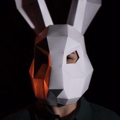 Origami, Mask Paper, Cardboard Mask, Bunny Mask, Forest Design, Halloween Porch Decorations, Plague Doctor, Halloween Carnival, Animal Masks