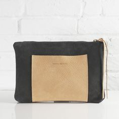 Asa charcoal black nubuck leather clutch // Shannon South // made in USA