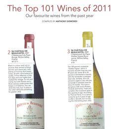 Top Wines of 2011 #2 Château de Beaucastel 2007 Châteauneuf-du-Pape Rouge - 96 points #3 Château de Beaucastel 2009 Châteauneuf-du-Pape Vieilles Vignes Rousanne - 96 points