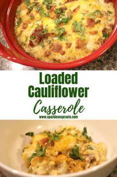 Loaded Cauliflower Casserole is the perfect KETO/Low Carb side that no one will ever guess is low carb.  My mom said she loved it even more than my loaded potato casserole... IT IS THAT GOOD! . #keto #cauliflower #casserole #bacon #cheese #lowcarb #side #sparklesnsprouts