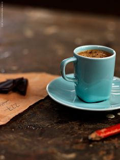 Espresso time Turquoise cup of coffee relax take a break So we Sell Luwak Coffee… I Love Coffee, Coffee Break, Best Coffee, Morning Coffee, Coffee Cafe, Coffee Mugs, Espresso Coffee, Italian Espresso, Drink Coffee