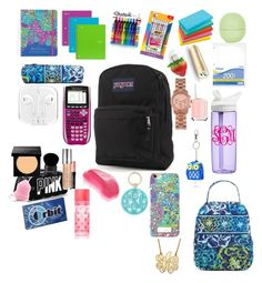 """""""Back to school"""" by brookebennett1222 ❤ liked on Polyvore featuring Sharpie, JanSport, BIC, Lilly Pulitzer, Vera Bradley, CamelBak, Essie, Givenchy, Urban Decay and Bobbi Brown Cosmetics"""
