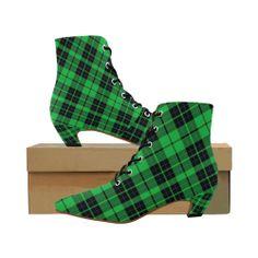 6a6a1ea890a4 GREEN TARTAN Women s Pointed Toe Low Heel Booties (Model ...