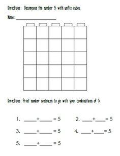 Decomposing Numbers to 10 With Unifix Cubes - Carol Redmond - TeachersPayTeachers.com