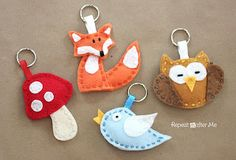 Fox, bird and owl keychain made of felt by Repeat Crafter Me - free pattern - gratis patroon