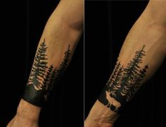 Pine Tree Tattoo, I love the elk in this one