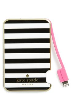 kate spade new york slim portable charger | Black-and-white stripes pattern a slim portable charger, allowing you access to a full charge on your iPod or iPhone anywhere you go.