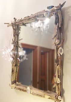 Driftwood Mirror Large Driftwood Mirror by DaisysDriftwood on Etsy Driftwood Mirror, Unique Jewelry, Frame, Handmade Gifts, Etsy, Vintage, Home Decor, Picture Frame, Kid Craft Gifts