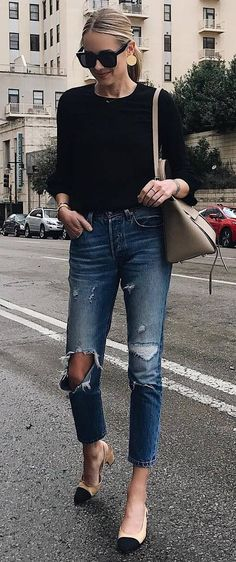 what to wear with a rips : black top + bag + loafers