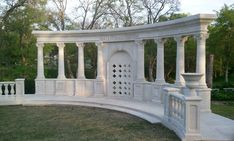 Hallie Mae Memorial Chapel, Cast stone monument, with Corinthian columns over pedestals, with a custom niche between, and planters for finials over balustrade and newel piers. Stone Legends Architectural Cast Stone (600x361)