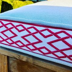 Outdoor cushions from Amelfi, available in a gorgeous array of base colours, trims, borders and pipings, they can be made up in any combination or size in fabric that is water, stain, mould and UV resistant