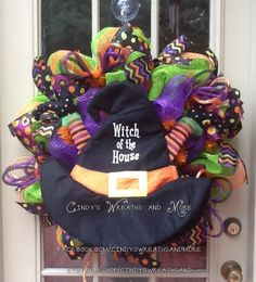 Halloween Fall Mesh Wreath, Witches Hat with Legs and Boots, Witch of the House Hat, Deco Mesh, Door Wreath, Home Decor, Halloween on Etsy, $95.00