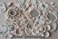 Apliques de flores de ganchillo 7 Irlanda por AlisaSonya en Etsy