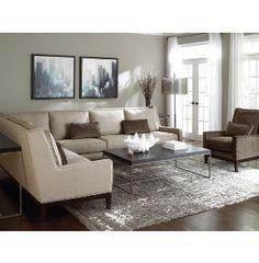 Metropolitan Home takes contemporary styling and comfort to a new level with the Pinnacle Collection. A soft, neutral body fabric with velvet kidney pillows and two exciting accent chairs. Art Van, Sofa Furniture, Small Spaces, Love Seat, Sweet Home, Couch, Contemporary, Pillows, Living Room