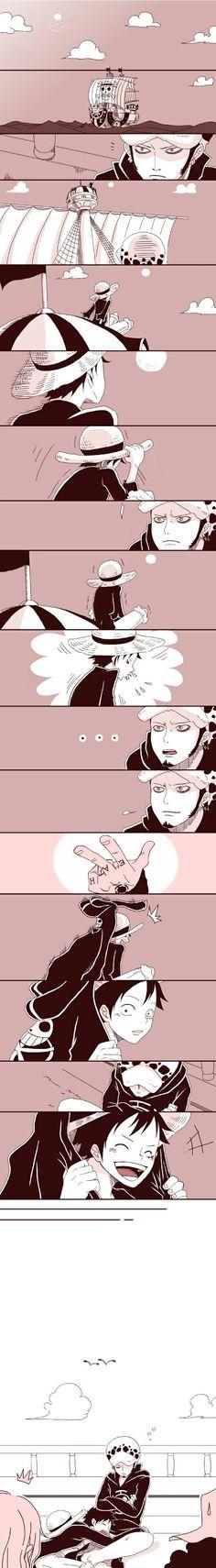 Luffy, Law, cute, yaoi, comic, jacket, sleeping; One Piece