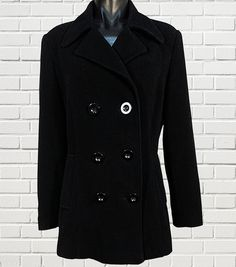 Ladies double breasted black heavy coat blazer classic cut, corporate dress pockets lined size M? by sprocket2chain - $46.00