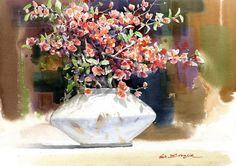 "Fine Art and You: Korean Watercolor Painter ""Shin Jong Sik"" Learn Watercolor Painting, Gold Watercolor, Watercolor Landscape, Watercolor Flowers, Korean Art, Art Themes, Art Blog, Flower Art, Fine Art"
