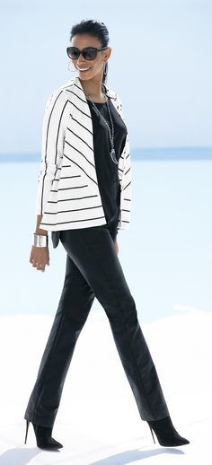 Here's a new slant on style: a jacket with diagonal stripes.