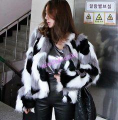 Womens Splice Color Faux Fur Short Jacket Outwear Parka Fashion Round Toe Collar
