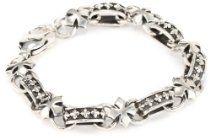 King Baby Men's MB Cross Light Link Sterling Silver Bracelet