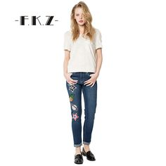 23.72$  Watch now - http://alidq7.shopchina.info/go.php?t=32803506310 - FKZ Fashion Women Ripped Embroidery Jeans femme Plus Size Vintage Female Ladies Blue Denim Pants Pencil Casual Brand SKJ001 23.72$ #magazineonline
